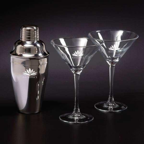 martini shaker set w 2 glasses blank